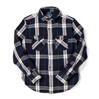 Studio D'Artisan 5636 Rope Dyed Indigo Check Flannel Shirt (Red)