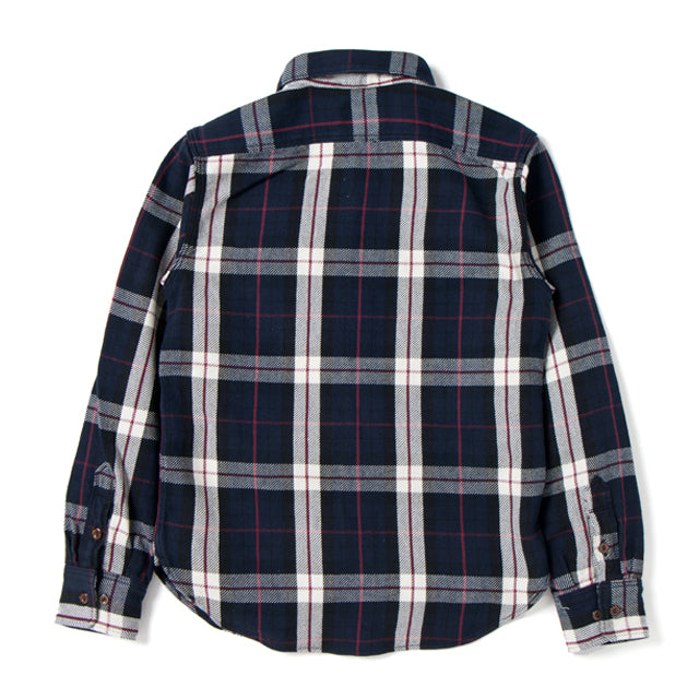 Studio D'Artisan 5636 Rope Dyed Indigo Check Flannel Shirt (Red) - Okayama Denim Shirt - Selvedge