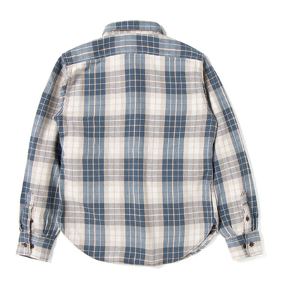 Studio D'Artisan 5636U Rope Dyed Indigo Check Flannel Shirt (Brown)