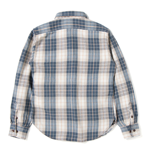 Studio D'Artisan 5636U Rope Dyed Indigo Check Flannel Shirt (Brown) - Okayama Denim Shirt - Selvedge