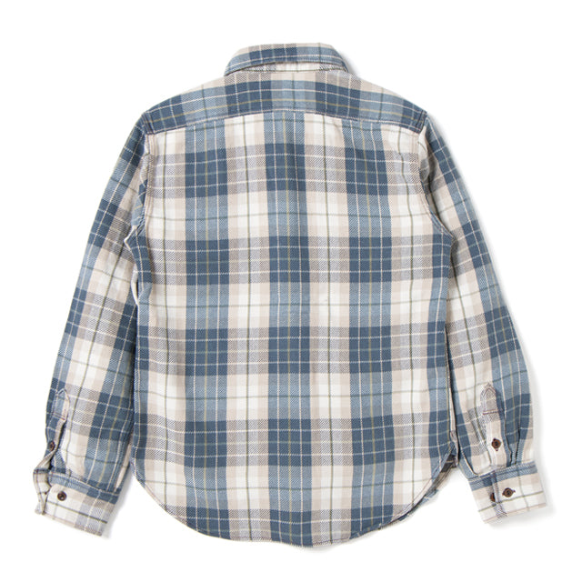Studio D'Artisan 5636U Rope Dyed Indigo Check Flannel Shirt (Green) - Okayama Denim Shirt - Selvedge