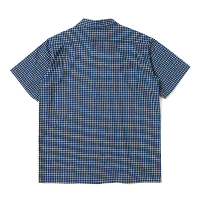 "Studio D'Artisan Indigo Check ""Paraca"" Open-Collar Shirt"