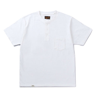 Japan Blue Côte d'Ivoire Cotton Pocket Henley (White) - Okayama Denim T-Shirts - Selvedge