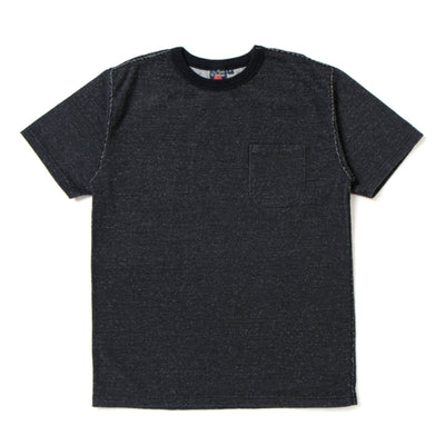Studio D'Artisan Loopwheel Black Indigo Dyed Pocket Tee - Okayama Denim T-Shirts - Selvedge