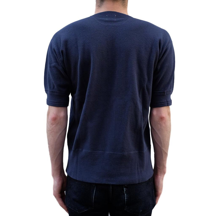 Loop & Weft British Military Rib Knit Henley (Navy) - Okayama Denim T-Shirts - Selvedge