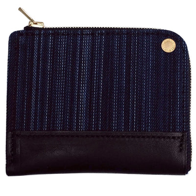 Anachronorm Irregular Denim Wallet (Black Leather) - Okayama Denim Accessories - Selvedge