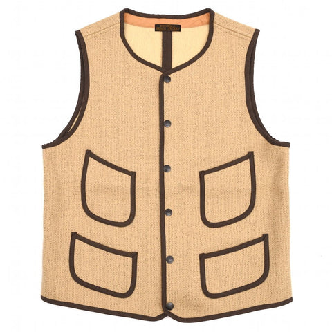 Brown's Beach Early Vest (Beige) - Okayama Denim Jacket - Selvedge