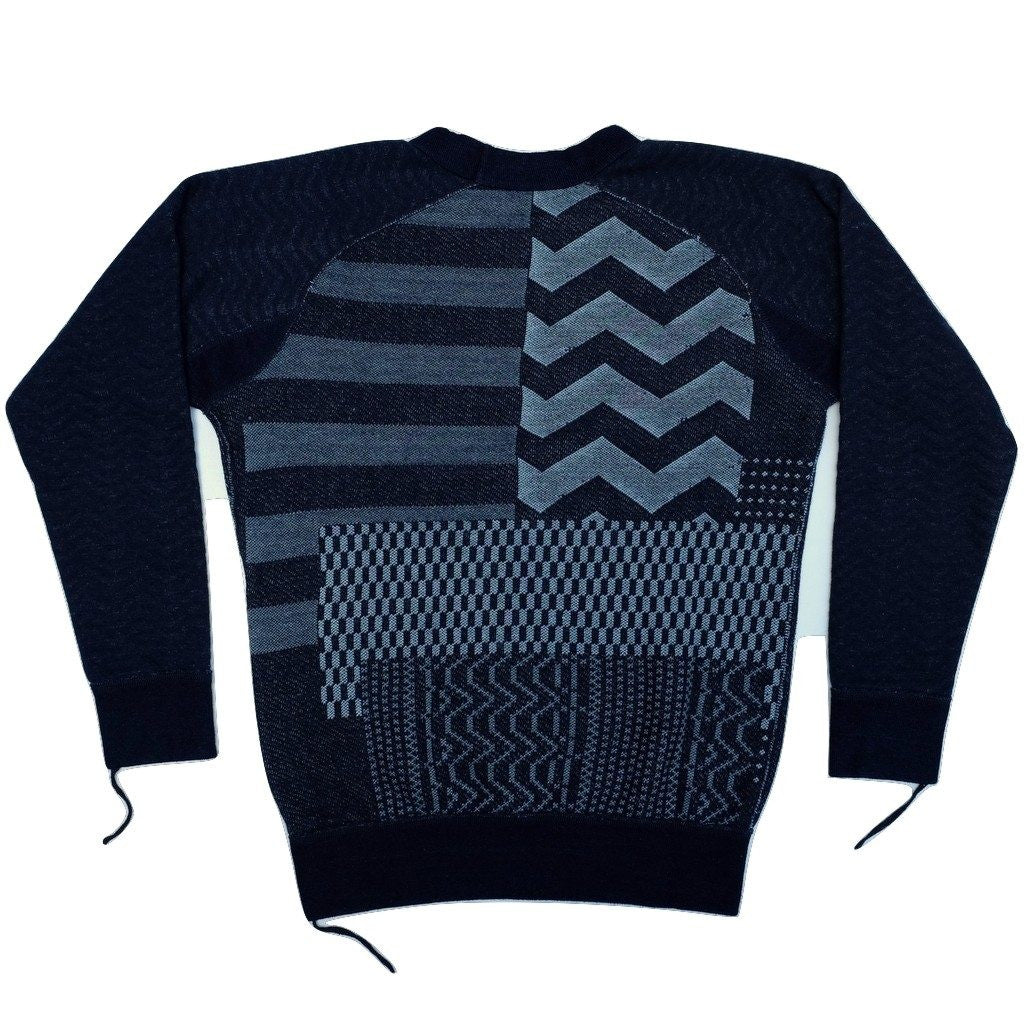 Pure Blue Japan Indigo Patchwork Crewneck Sweatshirt