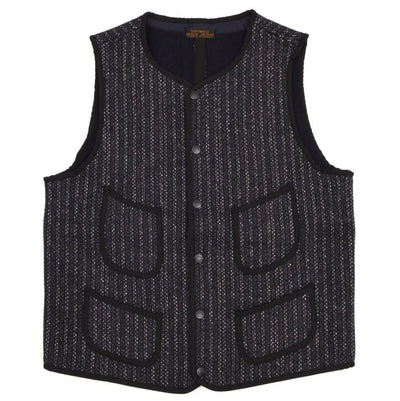 Brown's Beach Early Vest (Navy Stripe) - Okayama Denim Jacket - Selvedge