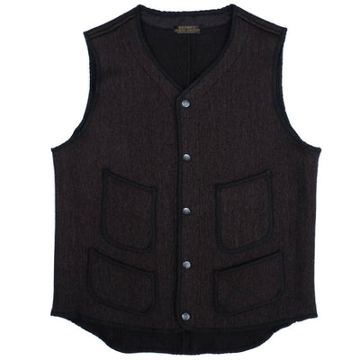 Brown's Beach V-Neck Early Vest (Black) - Okayama Denim Jacket - Selvedge