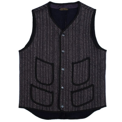 Brown's Beach V-Neck Early Vest (Navy Stripe) - Okayama Denim Jacket - Selvedge