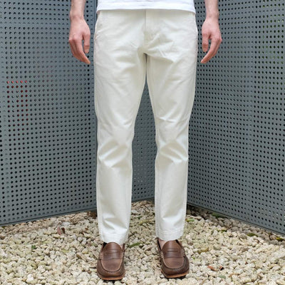 Burgus Plus Tapered White Pants - Okayama Denim Pants - Selvedge