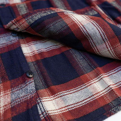 Pure Blue Japan Indigo Check Shaggy Flannel Shirt (Red)