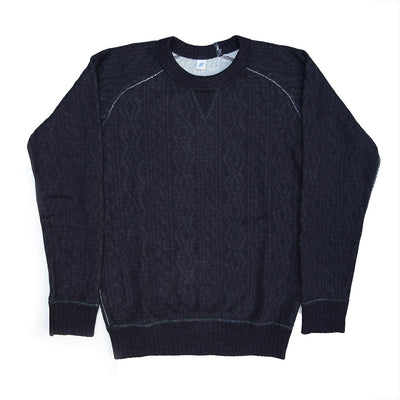 Pure Blue Japan Indigo Cable Knit Crewneck Sweatshirt