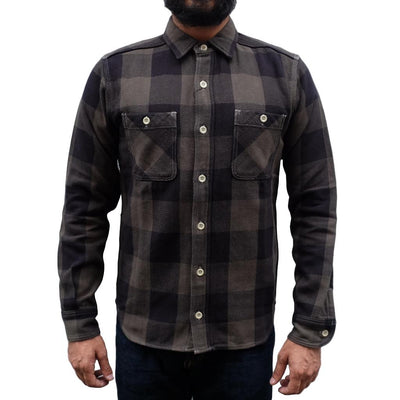 Momotaro Herringbone Check Flannel Shirt (Green)