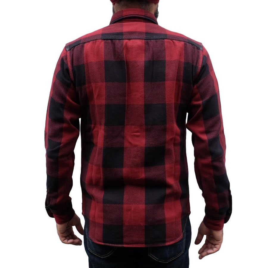 Momotaro Herringbone Check Flannel Shirt (Red)