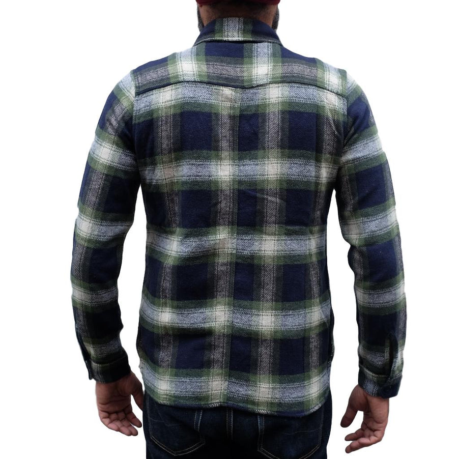 Pure Blue Japan Indigo Check Shaggy Flannel Shirt (Green)