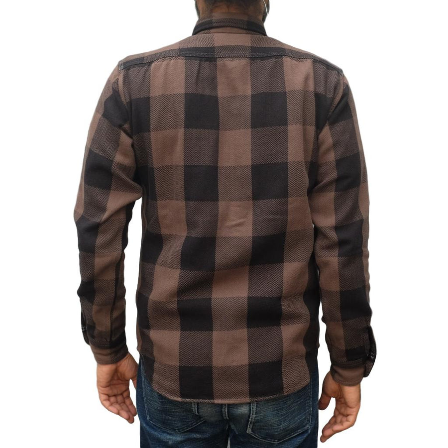 Momotaro Herringbone Check Flannel Shirt (Brown)
