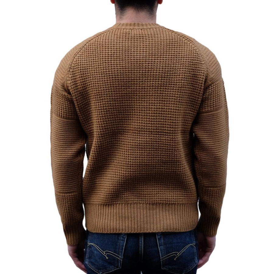Loop & Weft Merino Lambswool Big Waffle Commando Sweater (Brown)
