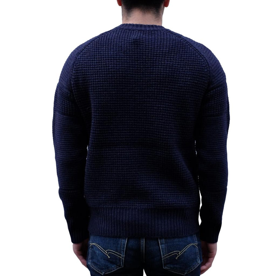 Loop & Weft Merino Lambswool Big Waffle Commando Sweater (Navy)