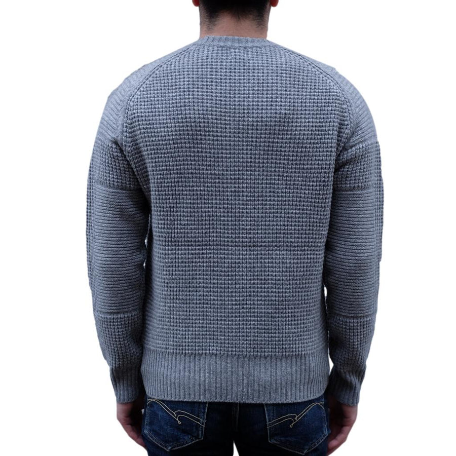 Loop & Weft Merino Lambswool Big Waffle Commando Sweater (Gray)