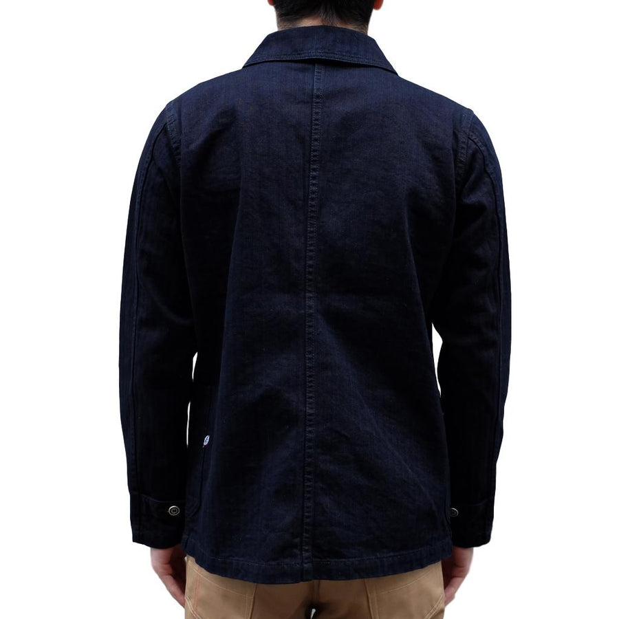 Pure Blue Japan Deep Indigo Herringbone Chore Jacket - Okayama Denim Jacket - Selvedge