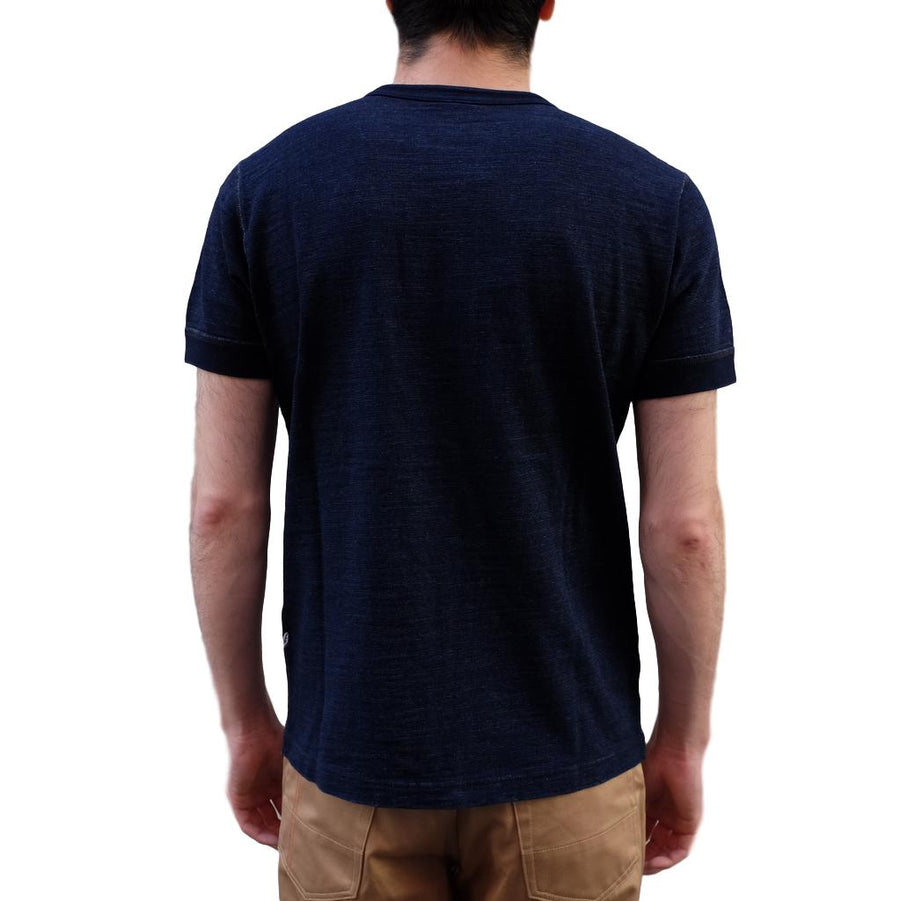 Pure Blue Japan Indigo Slub Jersey Double Button Henley