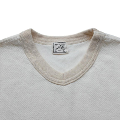 Loop & Weft Twill Face Knit Military V-Neck Tee (Ivory)