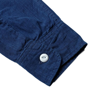 Pure Blue Japan 6oz. Double Natural Indigo Selvedge Chambray Band Collar Shirt