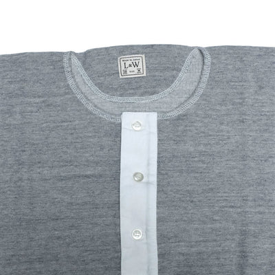 Loop & Weft British Military Rib Knit Henley (Gray) - Okayama Denim T-Shirts - Selvedge