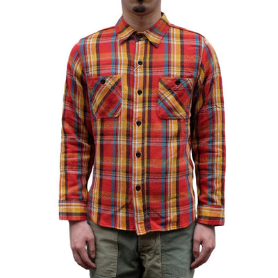 Studio D'Artisan Heavyweight Check Flannel Shirt (Red)