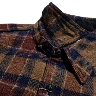 Samurai Jeans SNL20-01 Shaggy Flannel Shirt (Brown)