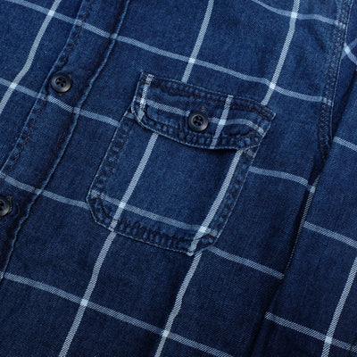Pure Blue Japan Sunburned Indigo Check Work Shirt - Okayama Denim Shirt - Selvedge