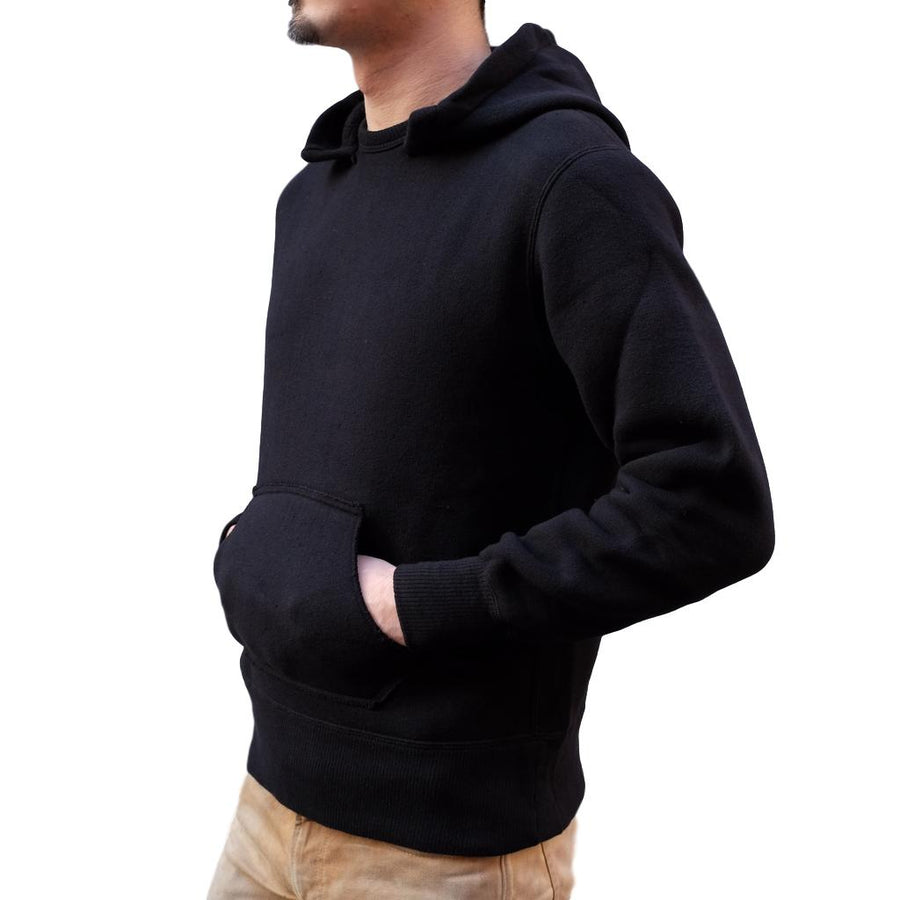 Loop & Weft Tompkins Knit Hooded Sweatshirt (Black) - Okayama Denim Sweatshirt - Selvedge
