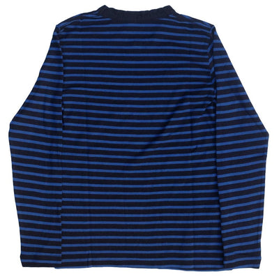 Pure Blue Japan Indigo x Hemp Border L/S Tee (Blue) - Okayama Denim T-Shirts - Selvedge