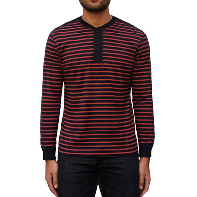 Pure Blue Japan Indigo x Hemp Border L/S Henley (Red) - Okayama Denim T-Shirts - Selvedge