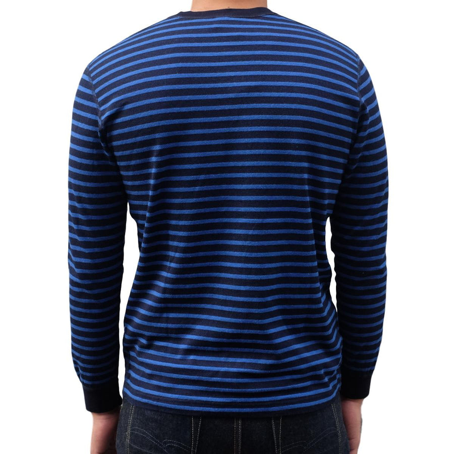 Pure Blue Japan Indigo x Hemp Border L/S Henley (Blue) - Okayama Denim T-Shirts - Selvedge