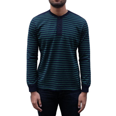 Pure Blue Japan Indigo x Hemp Border L/S Henley (Green) - Okayama Denim T-Shirts - Selvedge