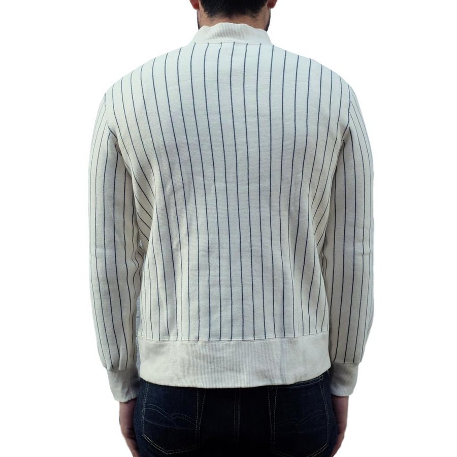 Loop & Weft Tompkins Knit Striped Mock Neck Sweatshirt (Ivory) - Okayama Denim Sweatshirt - Selvedge