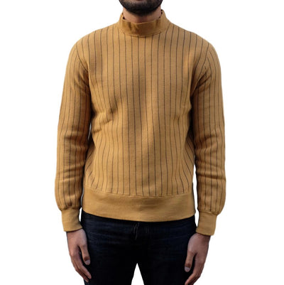 Loop & Weft Tompkins Knit Striped Mock Neck Sweatshirt (Mustard) - Okayama Denim Sweatshirt - Selvedge
