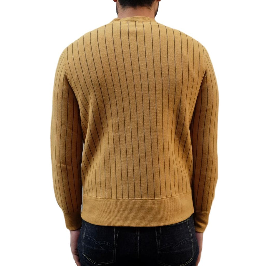 Loop & Weft Tompkins Knit Striped Crewneck Sweatshirt (Mustard) - Okayama Denim Sweatshirt - Selvedge