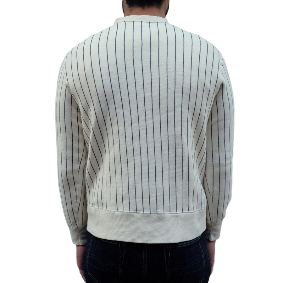Loop & Weft Tompkins Knit Striped Crewneck Sweatshirt (Ivory) - Okayama Denim Sweatshirt - Selvedge