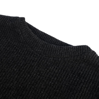 Loop & Weft Merino Lambswool British Military Crewneck Sweater (Charcoal Ash) - Okayama Denim Sweater - Selvedge