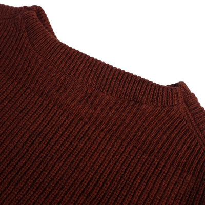 Loop & Weft Merino Lambswool British Military Crewneck Sweater (Ruby Brown) - Okayama Denim Sweater - Selvedge
