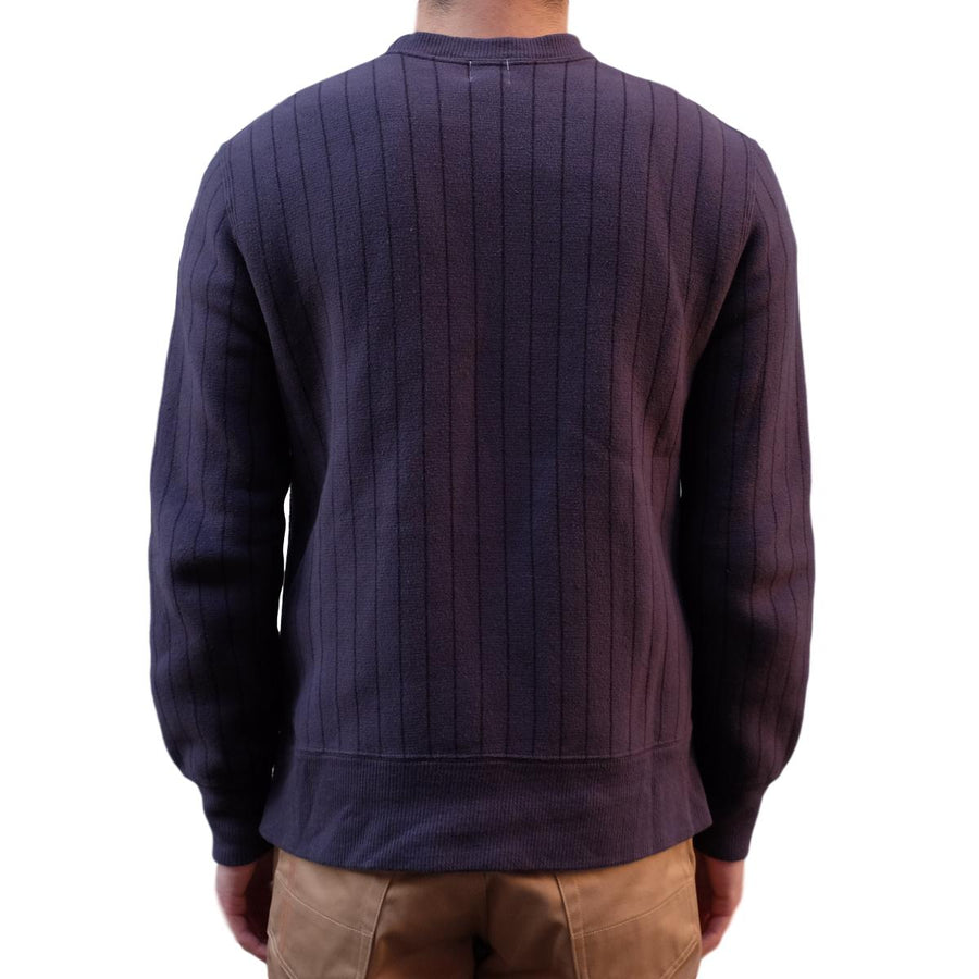 Loop & Weft Tompkins Knit Striped Crewneck Sweatshirt (Navy) - Okayama Denim Sweatshirt - Selvedge