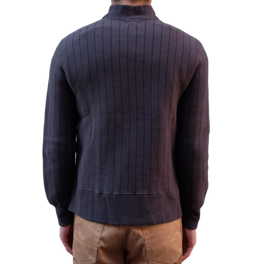 Loop & Weft Tompkins Knit Striped Mock Neck Sweatshirt (Black) - Okayama Denim Sweatshirt - Selvedge
