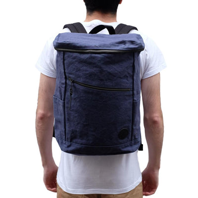 Takeyari Water Repellent Tiger Canvas Drum Backpack (Navy) - Okayama Denim Accessories - Selvedge