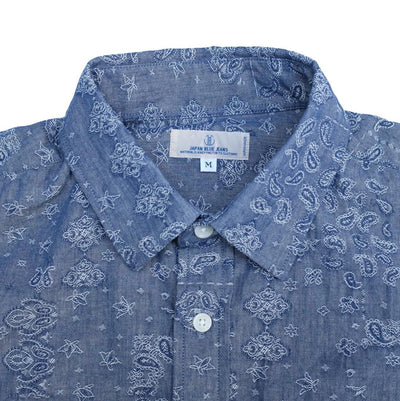 Japan Blue Jacquard Paisley Chambray Shirt - Okayama Denim Shirt - Selvedge