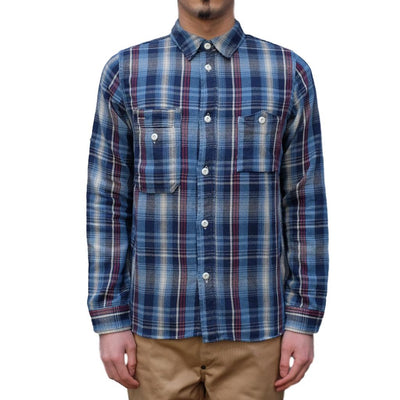 Pure Blue Japan Indigo Check Flannel Shirt (Red) - Okayama Denim Shirt - Selvedge