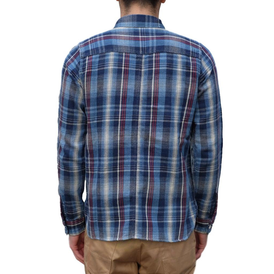 Pure Blue Japan Indigo Check Flannel Shirt (Red)